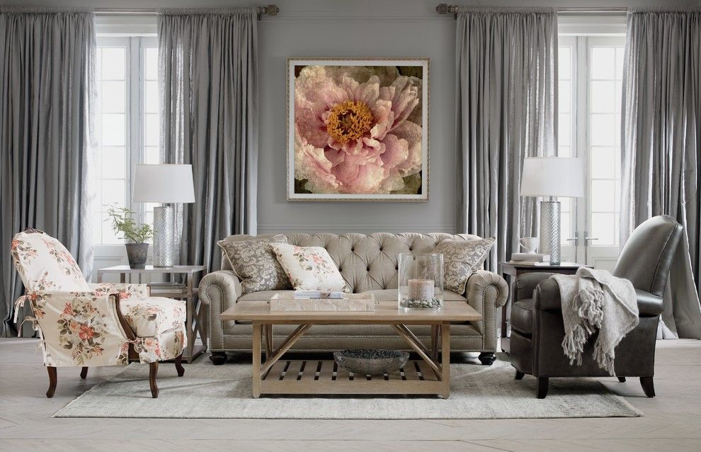Buttercup Furniture for a Traditional Living Room with a Gray Walls and Ethan Allen by Ethan Allen
