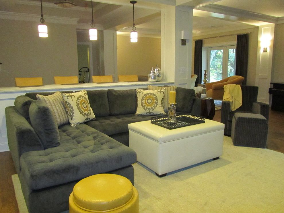 Buttercup Furniture for a Transitional Basement with a Paneled Columns and Armonk Basement Addition and Alteration by Joseph M. Palumbo, Architect Llc