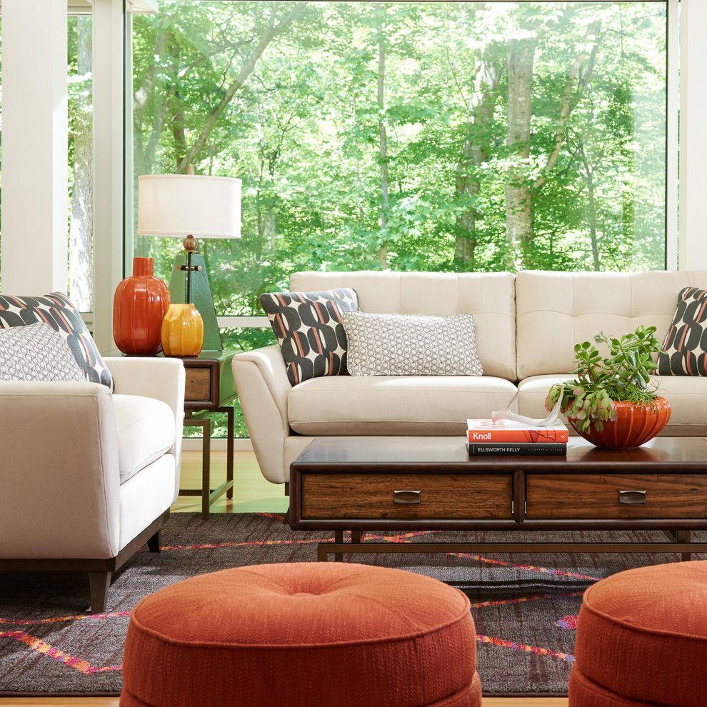 C Lazy U Ranch for a Modern Living Room with a Round Ottoman and La Z Boy by La Z Boy
