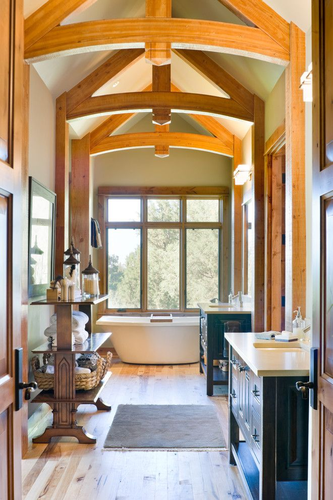 Cabin John Md for a Rustic Bathroom with a Freestanding Bathtub and True Residence by Alan Mascord Design Associates Inc