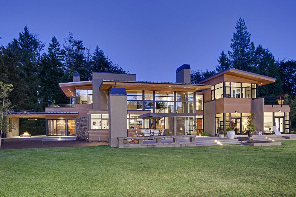 Cabot House Furniture for a Contemporary Exterior with a Wood Ceiling and Forest House   Exterior by Mcclellan Architects