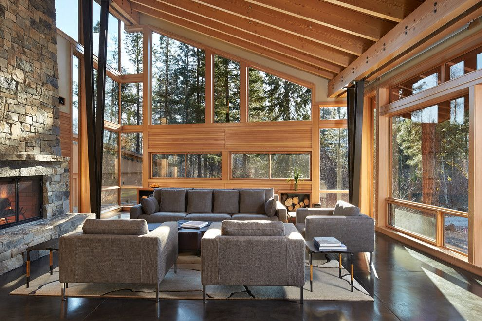 Cabot House Furniture for a Contemporary Living Room with a Floor to Ceiling Windows and Mazama House by FINNE Architects
