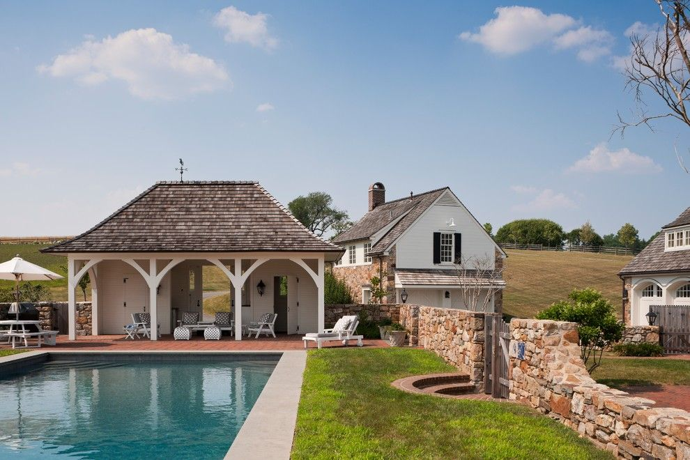 Cabot House Furniture for a Farmhouse Pool with a Bonnet Roof and Radnor House by E. B. Mahoney Builders, Inc.