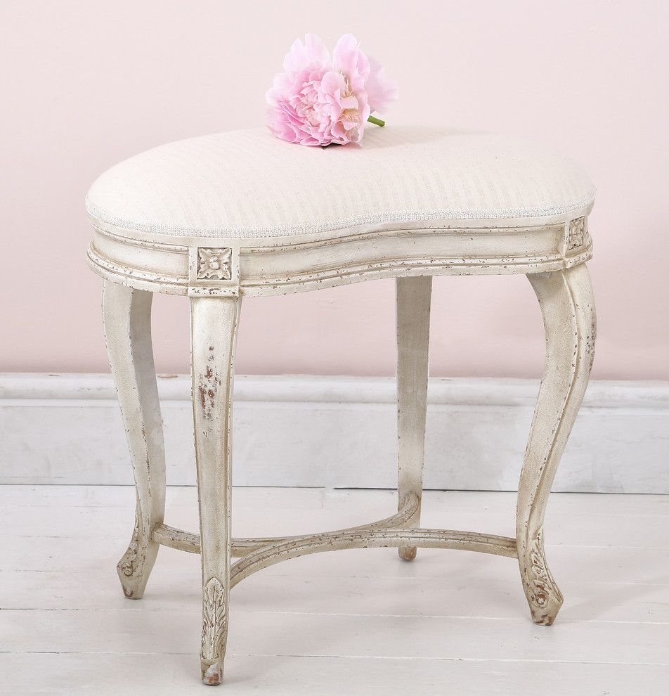 Cabriole for a  Bedroom with a Seating and Delphine Distressed Painted Stool in a Pink Bedroom by the French Bedroom Company
