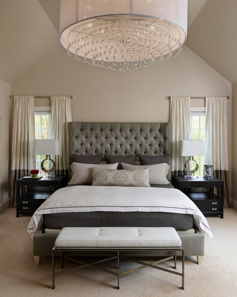 Cal King Bed Dimensions for a Transitional Bedroom with a Crystal Finials and Napa Chic Transitional Master Bedroom by Michelle Wenitsky Interior Design