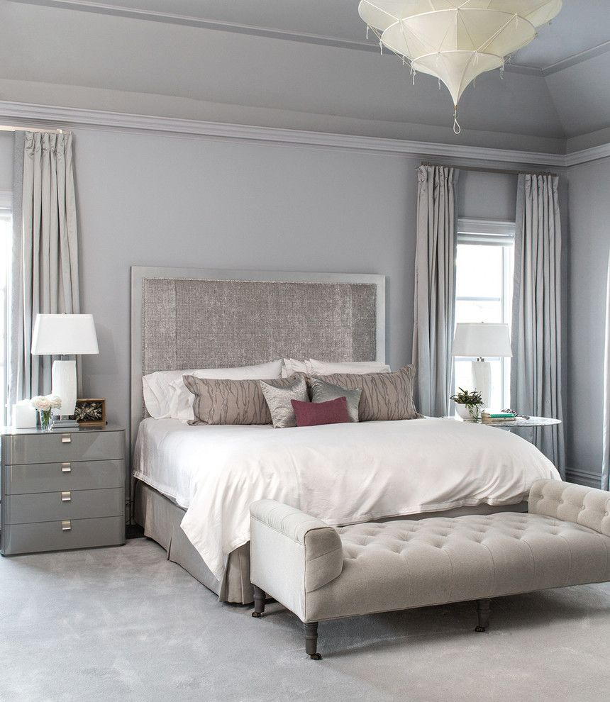 Cal King Bed Dimensions for a Transitional Bedroom with a Custom Drapery and Chestnut Hill, Ma by Evolve Residential