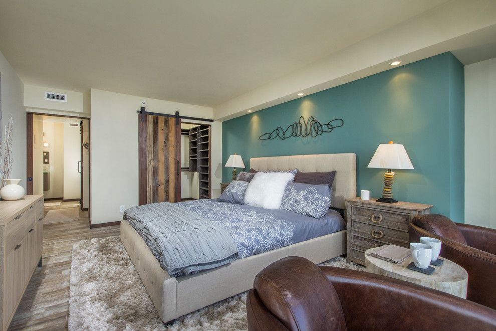 Cal King Dimensions for a Beach Style Bedroom with a Tufted Headboard and El Encanto 1509 Remodel by L'attitude Design Build