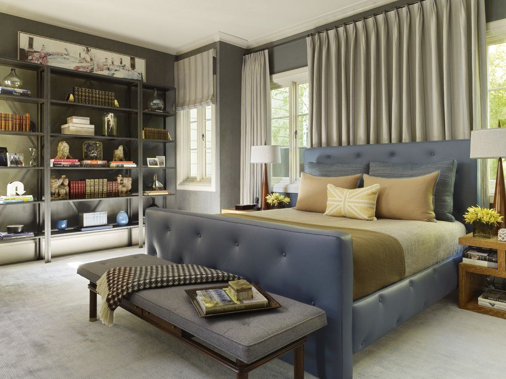 Cal King Dimensions for a Contemporary Bedroom with a Tufted Headboard and Urban Living   Pacific Heights by Jayjeffers