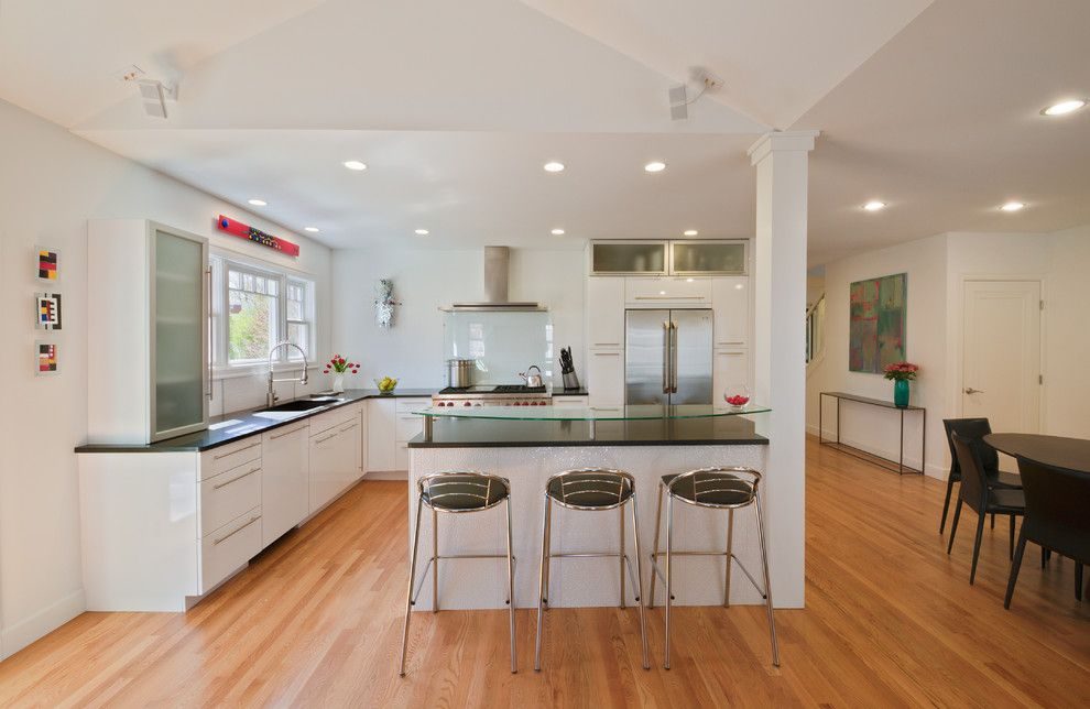 Cal King Dimensions for a Contemporary Kitchen with a Wood Floor and Maywood Ave. Home, Ann Arbor by Studio Z Architecture
