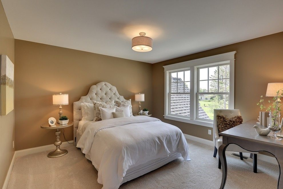 Cal King Dimensions for a Traditional Bedroom with a White Window Casing and 2013 Luxury Home Inver Grove Heights by Highmark Builders