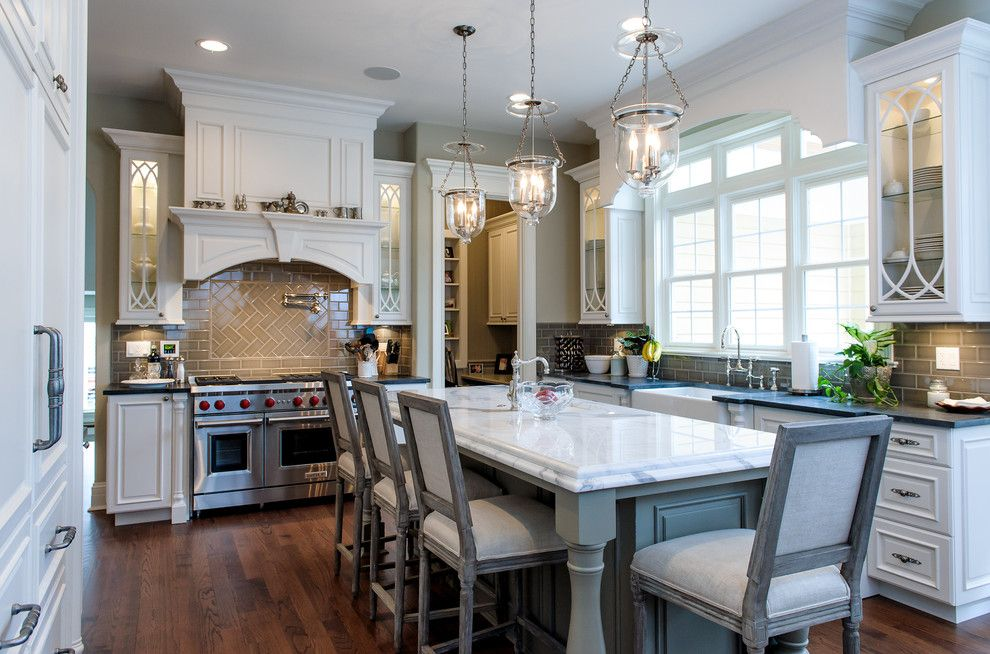 Cal King Dimensions for a Traditional Kitchen with a Herringbone Subway Tile and Grove by Riordan Signature Homes Inc.