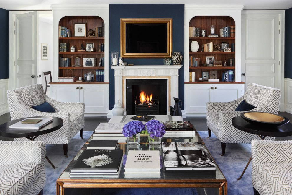 Cal King Dimensions for a Traditional Living Room with a White Fireplace Mantel and Family Residence by Oliver Burns