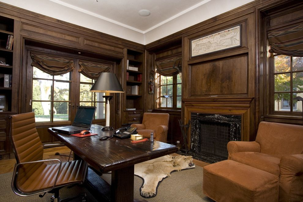 California Grizzly Bear for a Mediterranean Home Office with a Task Chair and Spanish Colonial Hacienda, Carmel, California by John Malick & Associates
