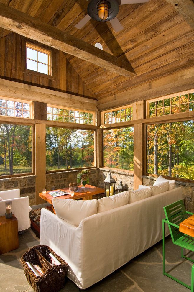 California Grizzly Bear for a Rustic Sunroom with a Magazine Holder and 2011 Showcase   Hillside Retreat by Witt Construction