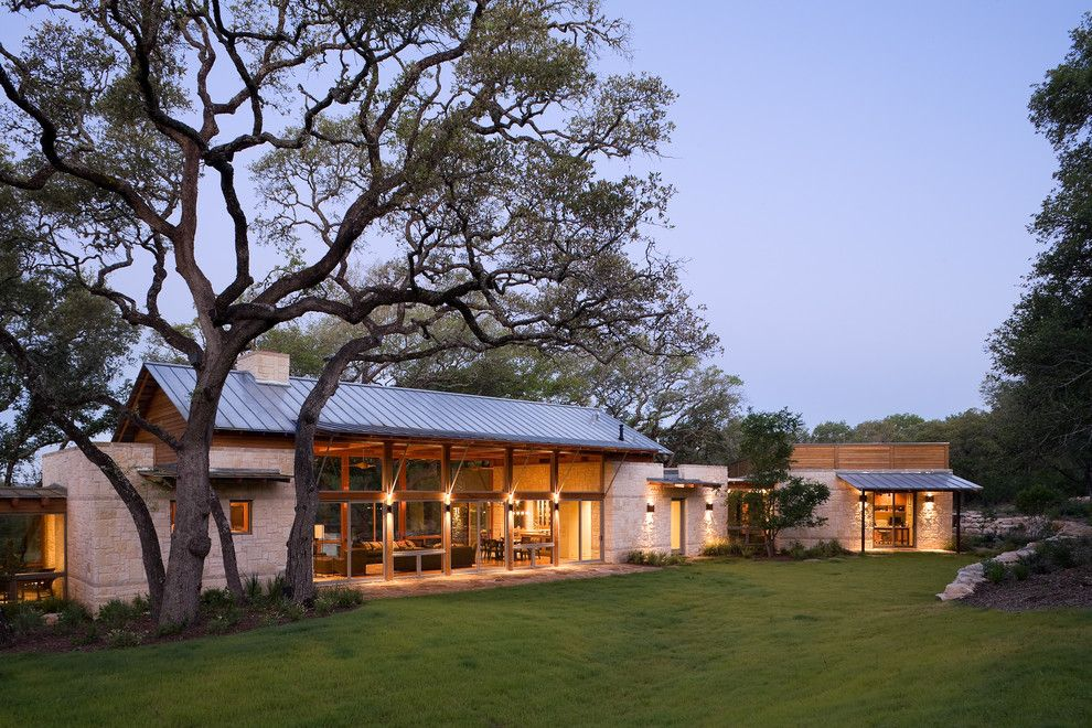 Camp Lejeune Housing for a Rustic Exterior with a Stone Facade and Hill Country River Ranch by Studio Industrielle