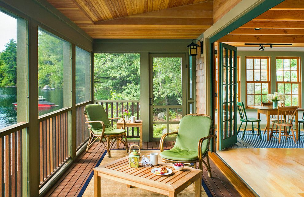 Camp Lejeune Housing for a Rustic Porch with a Fold Away Doors and Silver Lake Guest House by Battle Associates, Architects