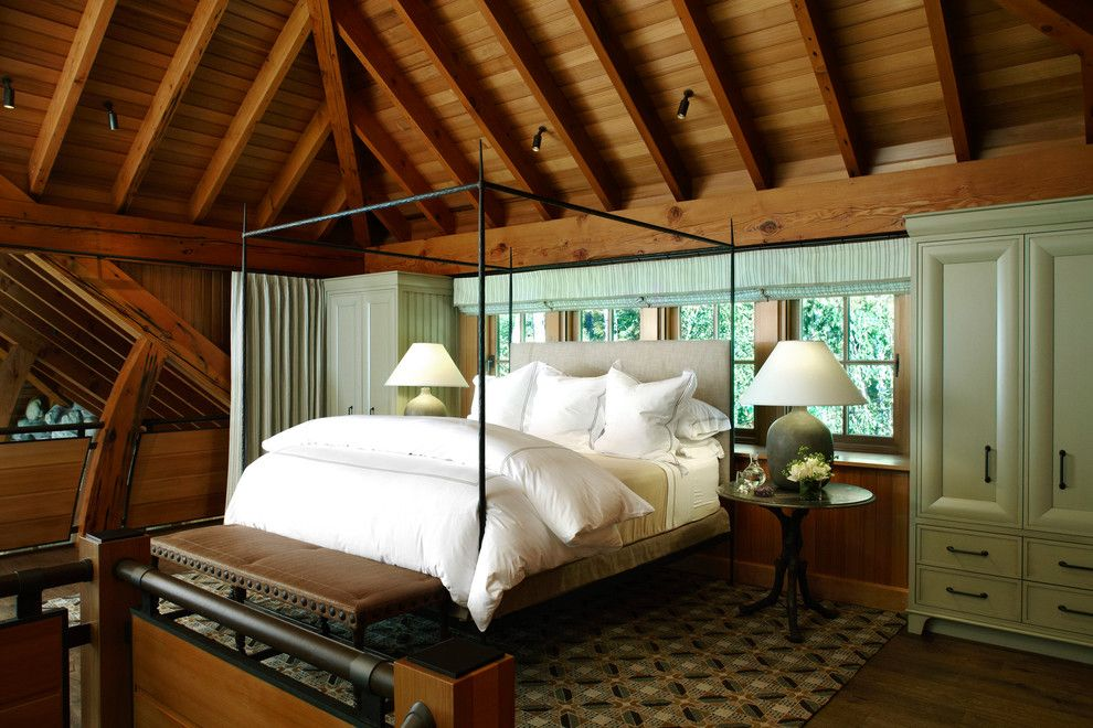 Canope for a Contemporary Bedroom with a Roman Shade and Brookside Retreat by Tom Stringer Design Partners