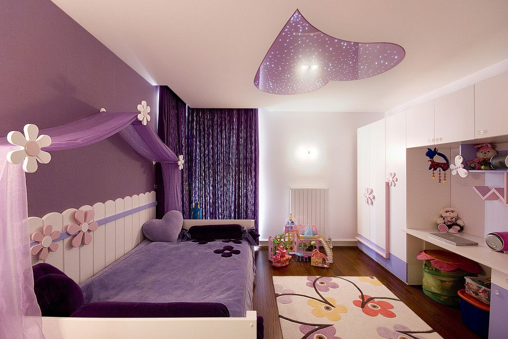 Canope for a Contemporary Kids with a Purple Walls and Kids Room by Tuba Yavuzer