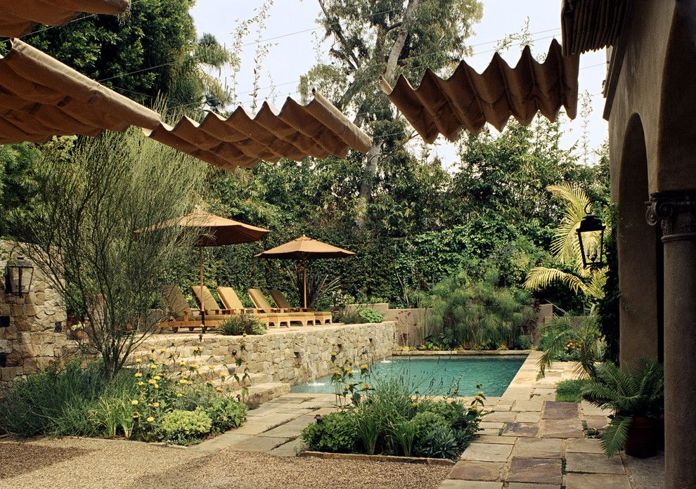 Canope for a Mediterranean Pool with a Mediterranean and Mediterranean Classic by Tommy Chambers Interiors, Inc.