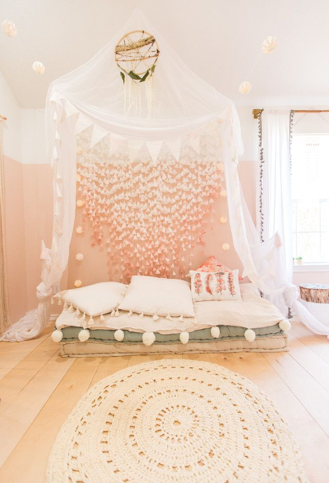 Canope for a Scandinavian Kids with a Lounge Seating and Boho Scandinavian Girls Room by Urbanology Designs