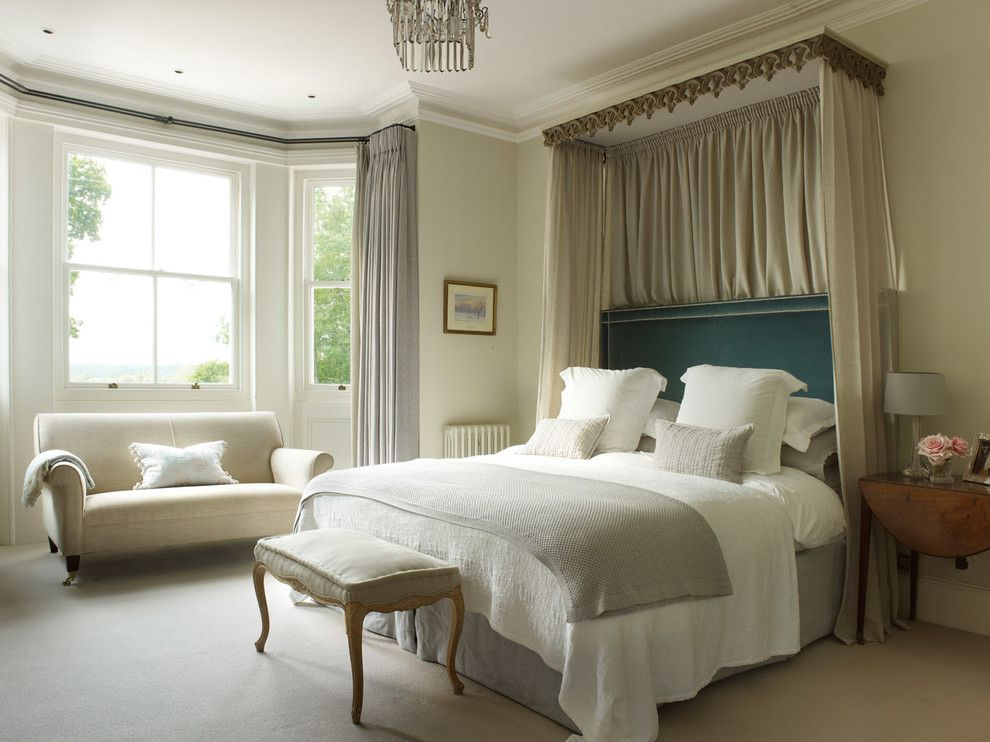 Canope for a Traditional Bedroom with a Bed Bench and East Sussex House as Featuring in Homes and Gardens by Oyster Interiors