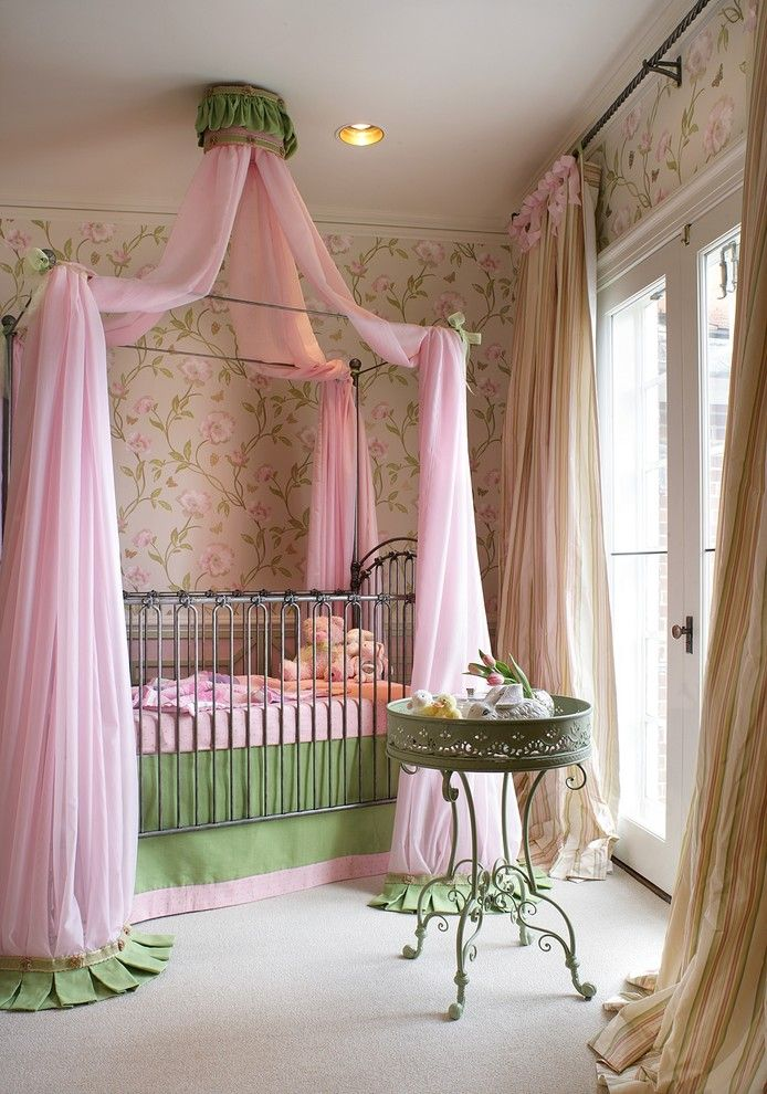 Canope for a Traditional Nursery with a Full Drapery Panels and Nursery by Vhz Design Group