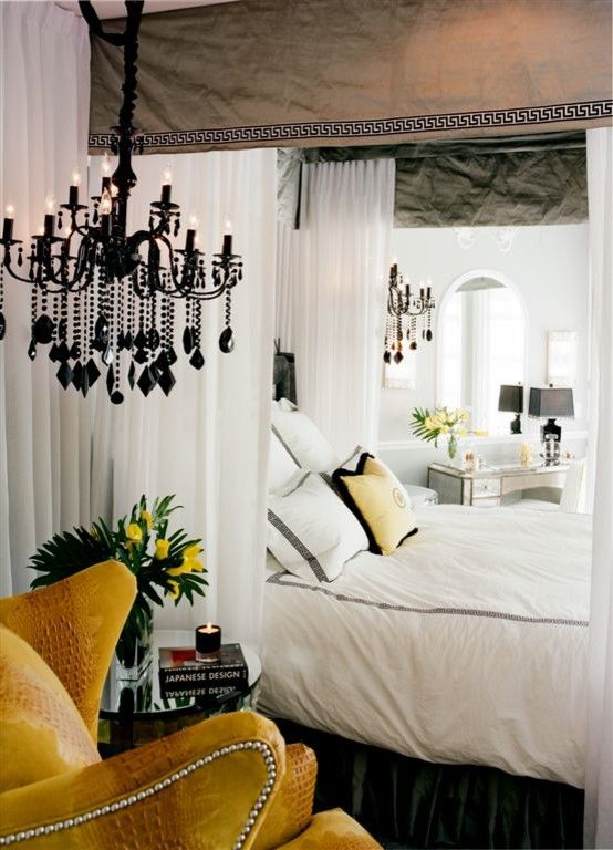 Canpo for a Eclectic Bedroom with a Black Chandelier and Newlywed's Home by Tracy Murdock Allied Asid