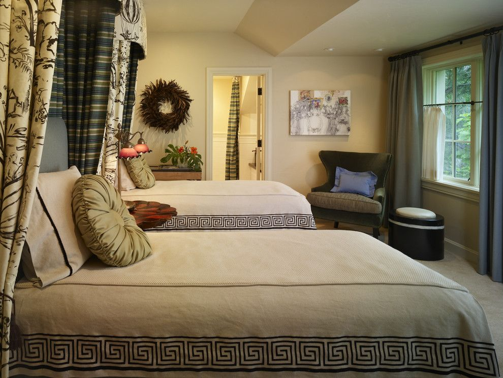 Canpo for a Traditional Bedroom with a Dual Drapery and Guest Bedroom by Nancy Sanford, Inc.