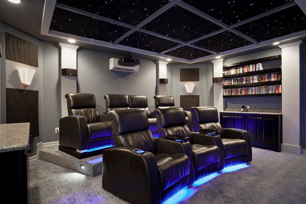 Carlisle Movie Theater for a Contemporary Home Theater with a Contemporary and South Austin Home Theater by Zuri Custom Homes & Renovations