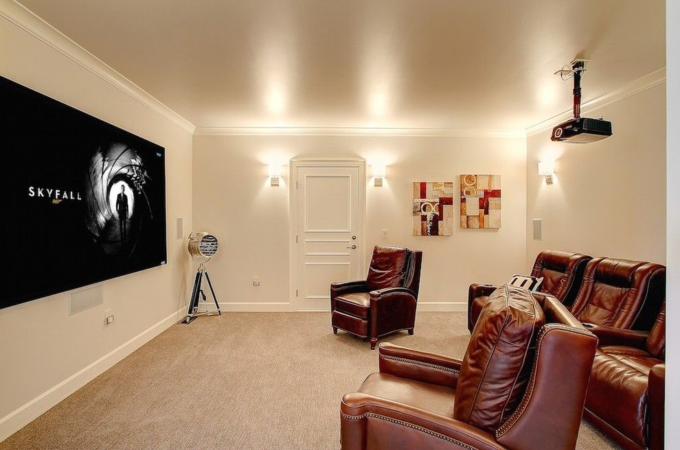 Carlisle Movie Theater for a Farmhouse Home Theater with a Home Theatre Seating and Madison Park Mansion by Seattle Staged to Sell and Design Llc