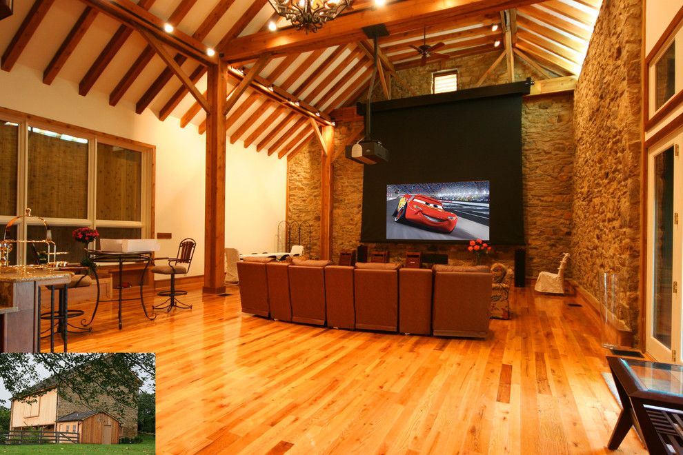 Carlisle Movie Theater for a Rustic Home Theater with a Wood Columns and ... by Gramophone