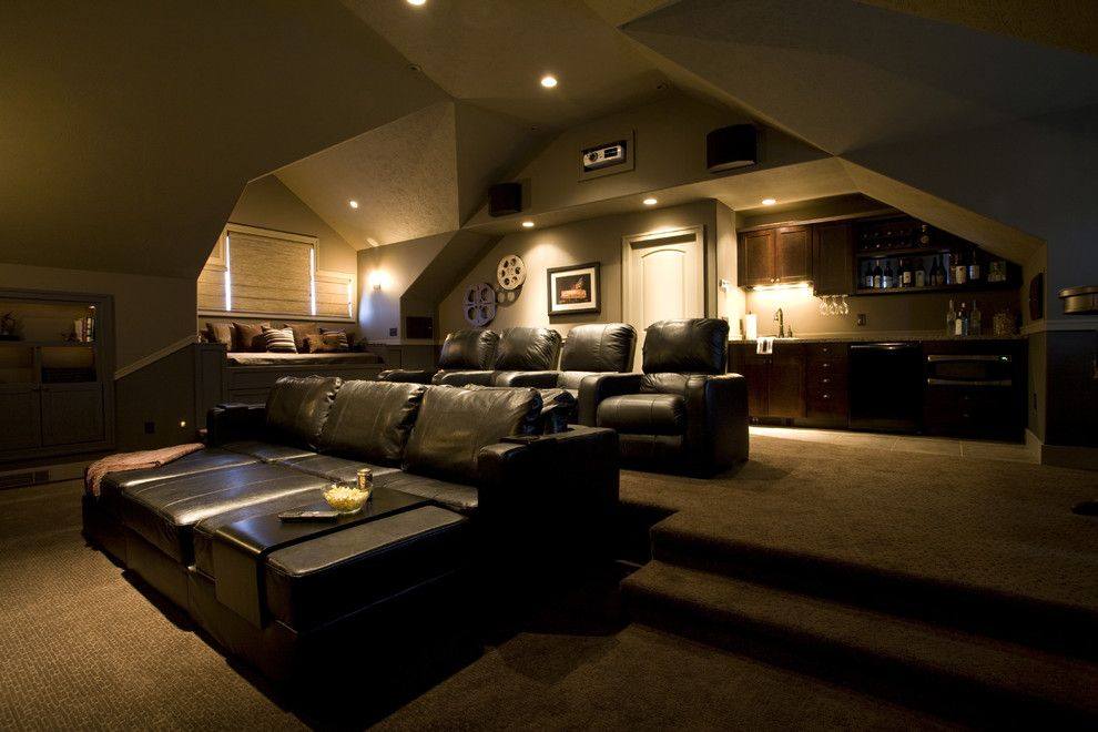 Carlisle Movie Theater for a Traditional Home Theater with a Theater Room and Lakeside Remodel by by Brooke Interiors