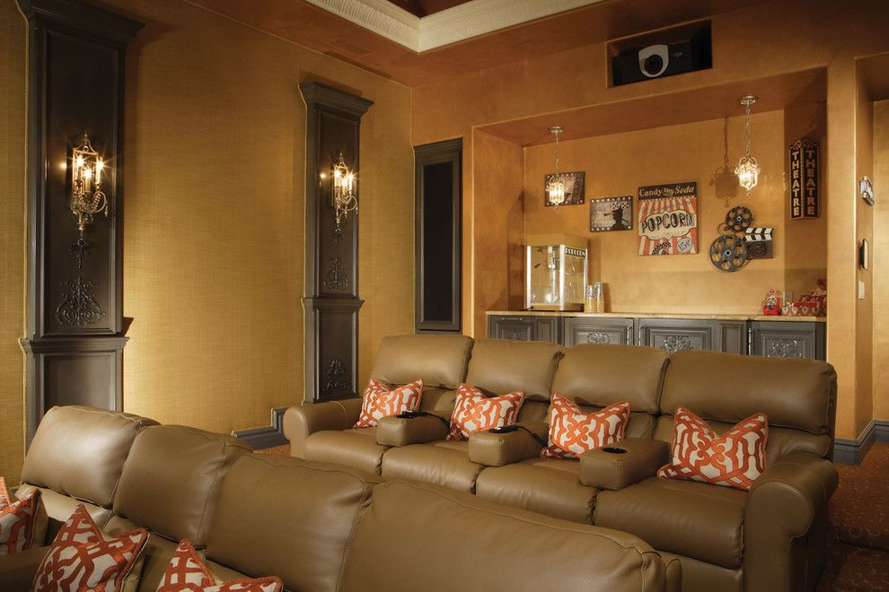 Carlisle Movie Theater for a Traditional Home Theater with a Wall Treatment and Media and Theatre Room by Eagle Luxury Properties