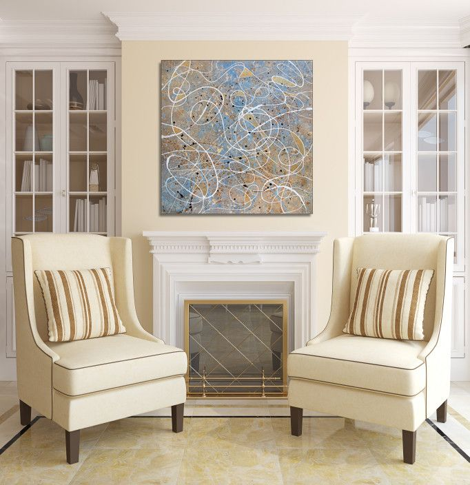 Casa Tua Miami for a Transitional Living Room with a Modern Artwork and Canvas by Casa Art Studio