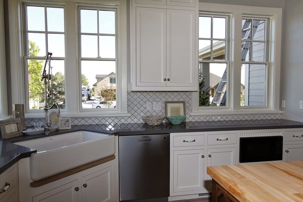 Castle Combe for a Farmhouse Kitchen with a Farm Sink and Utah Valley Parade of Home Kitchen Design by Titan Homes