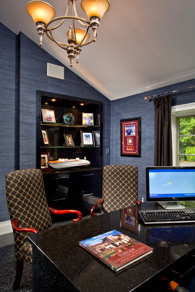 Castle Metals for a Modern Home Office with a Fountain and House Blend by Teakwood Builders, Inc.