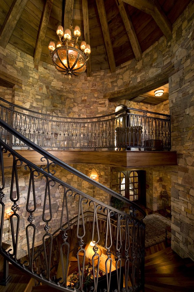 Castle Metals for a Rustic Staircase with a Marie Meko and Staircase by Gabberts Design Studio