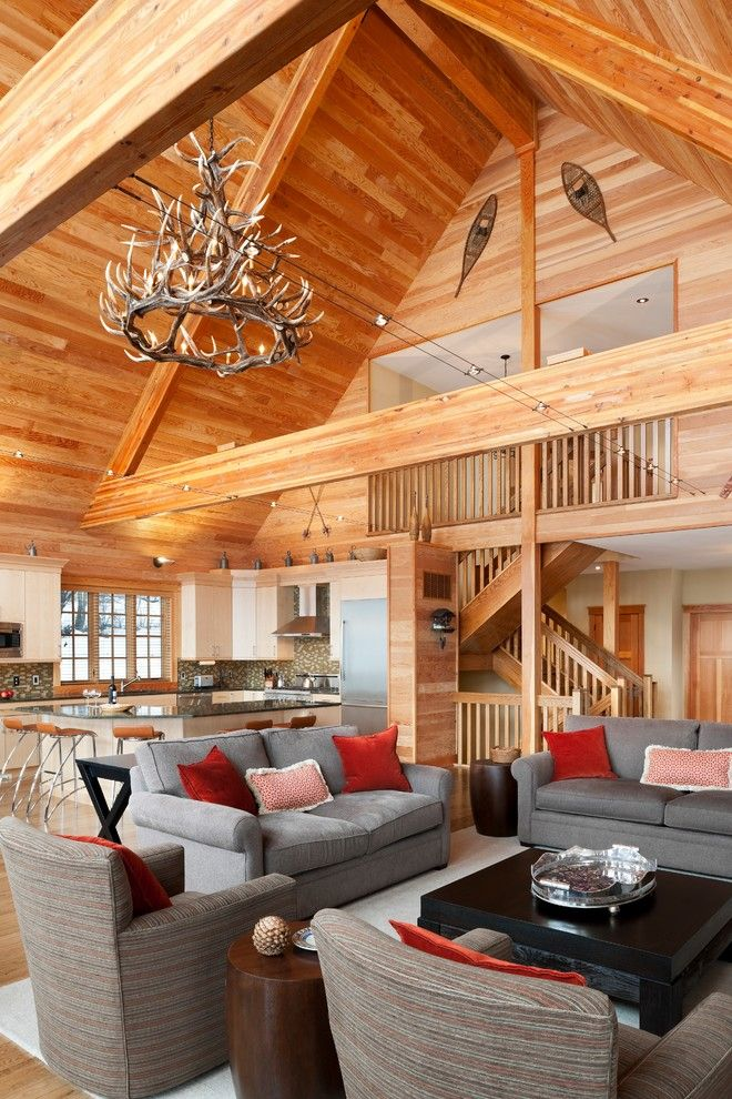 Cat6 vs Cat5e for a Rustic Family Room with a Throw Pillows and Elk Mountain House by E. B. Mahoney Builders, Inc.