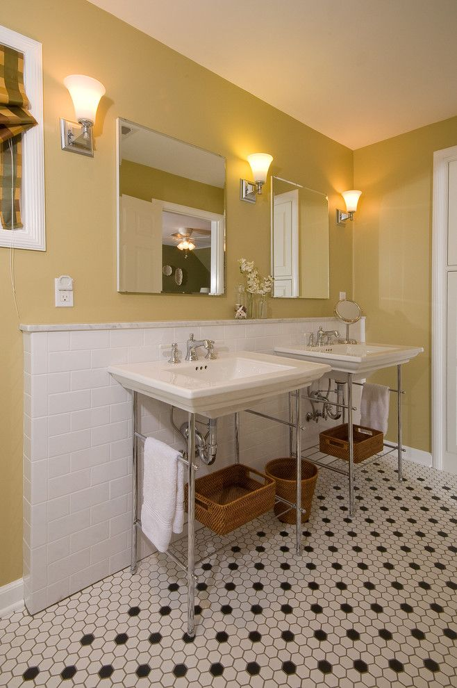 Cat6 vs Cat5e for a Traditional Bathroom with a Hex Tile and Bath 10071 by J.s. Brown & Co.