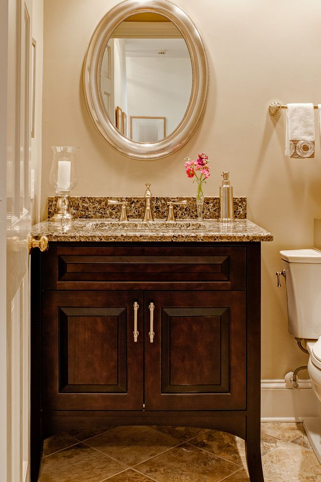 Catalina Flower for a Traditional Powder Room with a Polished Nickel Fittings and Wynfaire Lane by Case Design/remodeling
