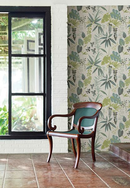 Catalina Flower for a Tropical Spaces with a Botanical Wallpaper and Catalina by Brewster Home Fashions
