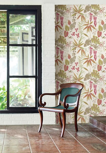 Catalina Flower for a Tropical Spaces with a Catalina Wallpaper and Descano Flower Pink Botanical by Brewster Home Fashions