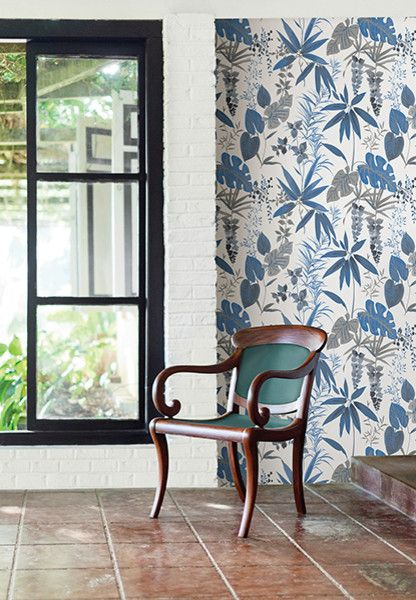 Catalina Flower for a Tropical Spaces with a Watercolor Floral Wallpaper and Descano Flower Blue Botanical Wallpaper by Brewster Home Fashions