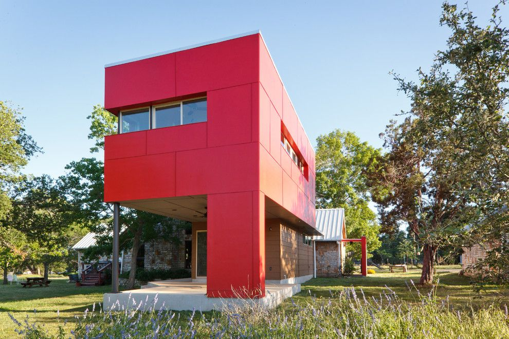 Ceco Building Systems for a Contemporary Exterior with a Sliding Windows and Bley Sleeping House by A.gruppo Architects   Dallas