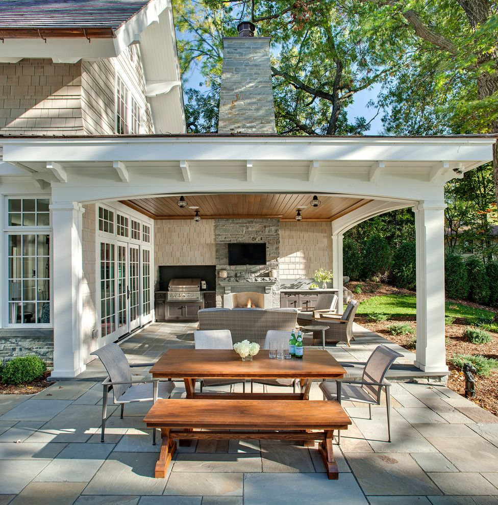 Ceco Building Systems for a Traditional Patio with a Phantom Screens and Carman Bay Cottage (Lake Minnetonka) by John Kraemer & Sons