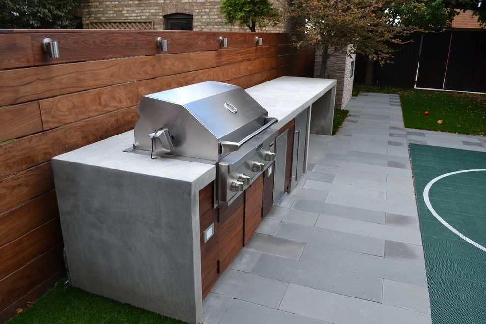 Ceco Concrete Construction for a Modern Landscape with a Outdoor Kitchen and Modern Landscape by Chicago Roof Deck & Garden