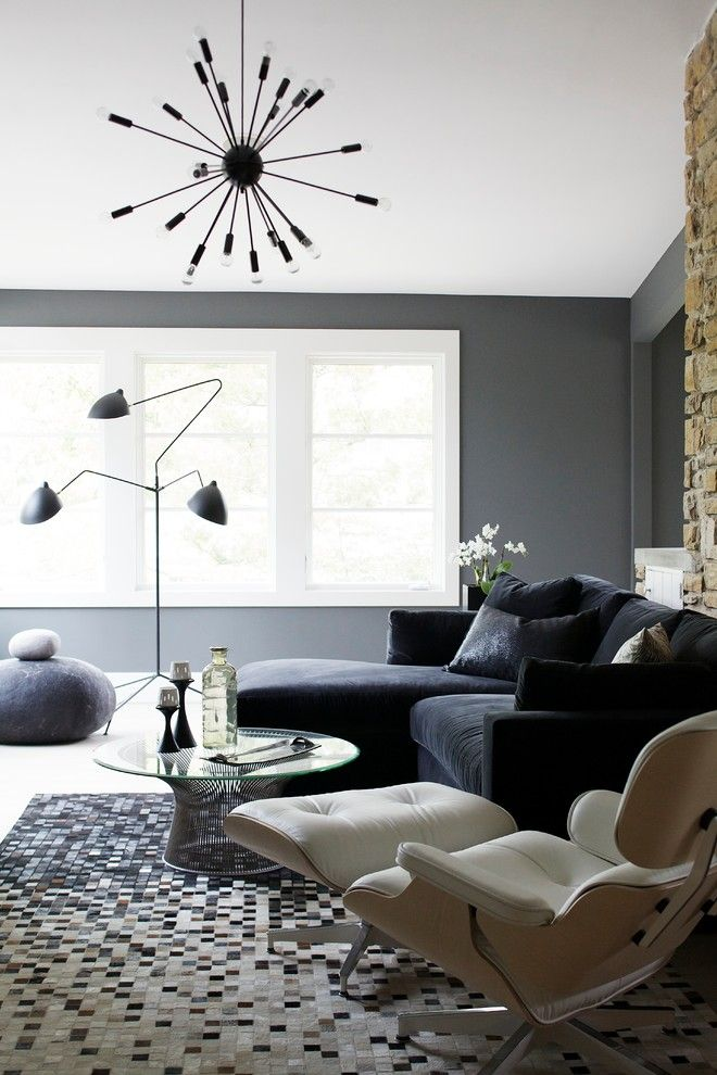 Century Walnut Creek for a Contemporary Family Room with a Hide Rug and Beyond Mid Century by Heather Garrett Design by Heather Garrett Design