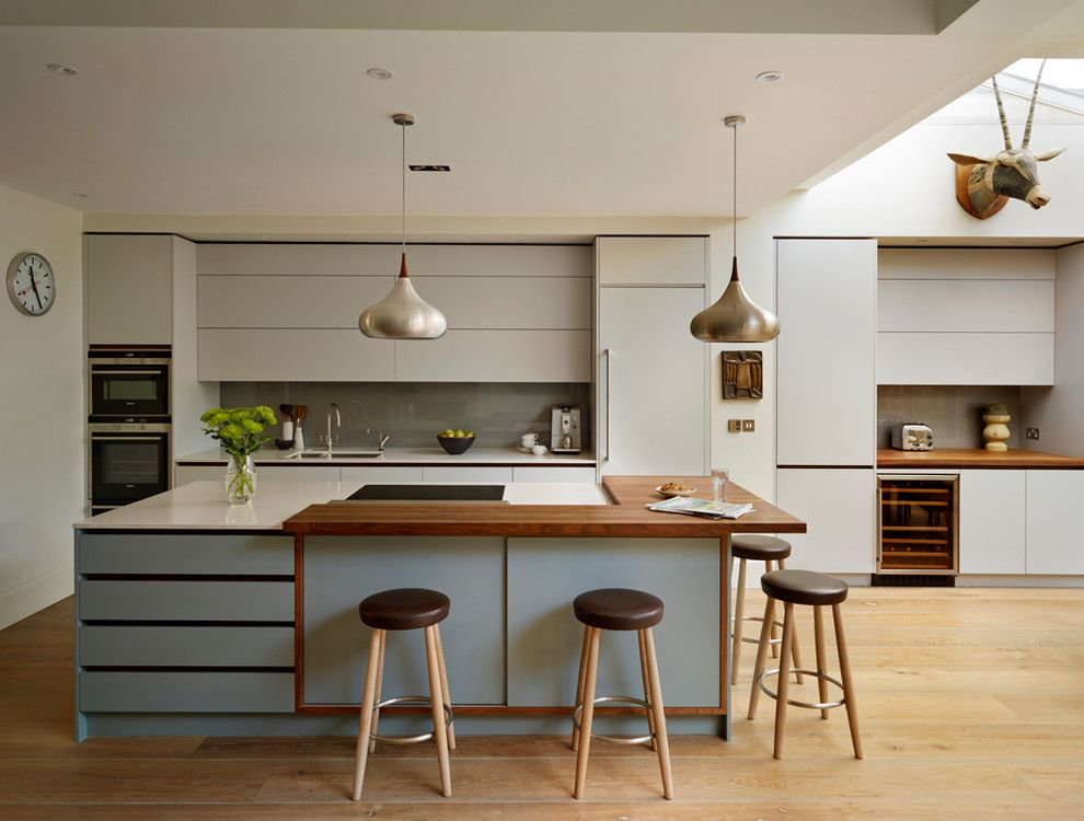 Century Walnut Creek for a Contemporary Kitchen with a Wood Countertop and Roundhouse Kitchen Work Tops by Roundhouse
