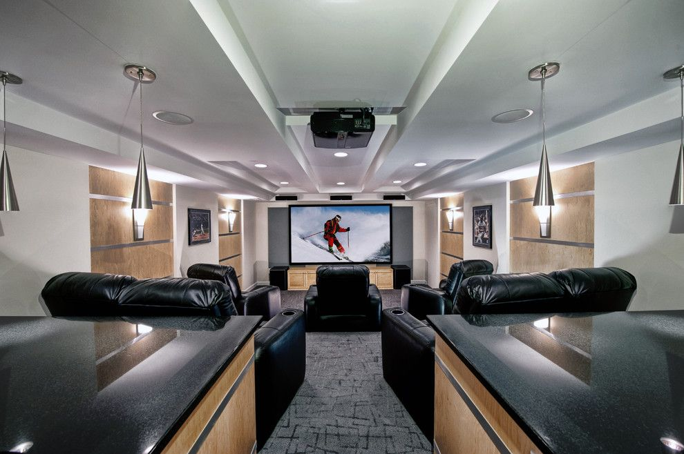 Champlin Movie Theater for a Contemporary Home Theater with a Wood Wall Panels and Ashburn Contemporary Basement   Theatre Area by Synergy Design & Construction