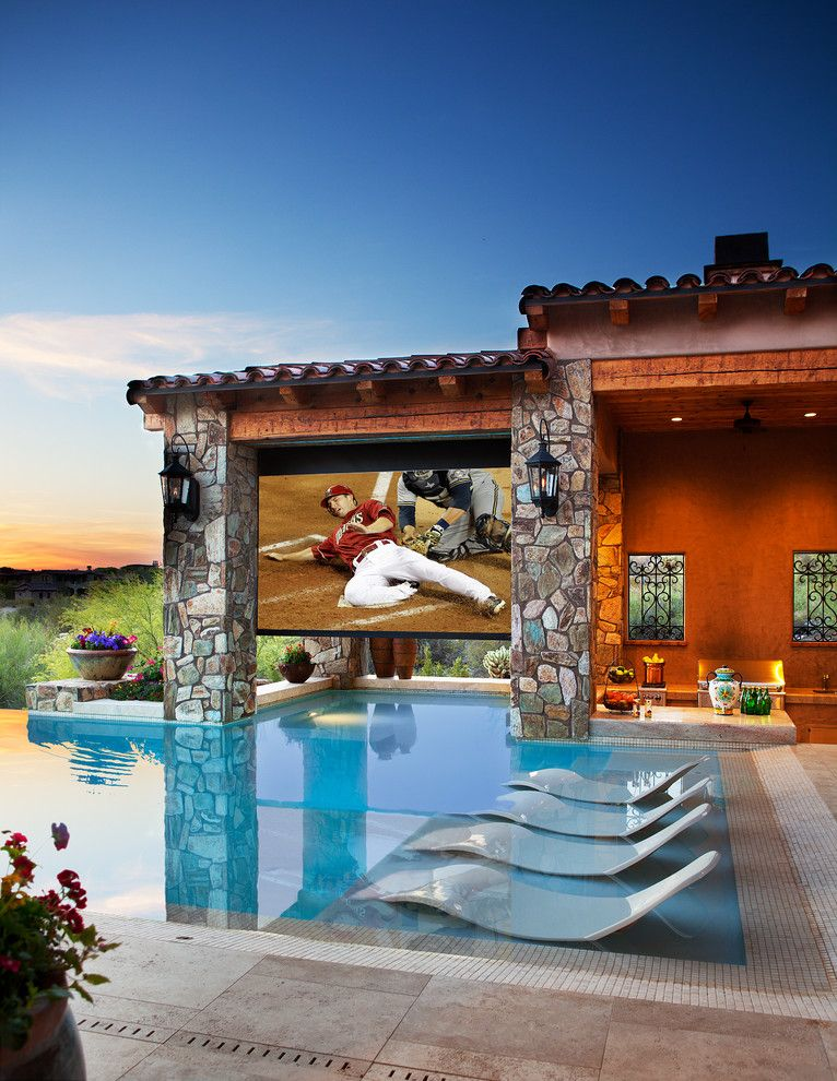 Champlin Movie Theater for a Mediterranean Pool with a Tiles and Dive in Movie Theater by Beringer Fine Homes